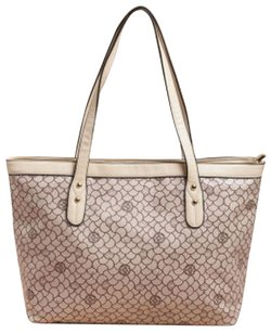 X-lg Tote in Cream and Burgundy