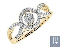 Yellow Gold Ladies Infinity Love Diamonds Dancing Wedding Engagement Ring .33ct