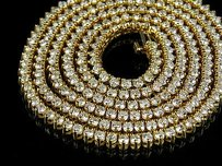 Yellow Gold Martini Prong Set 1 Row Mm In Diamond Chain Necklace 19.5ct