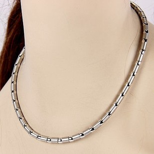 Zancan 18k White Gold 5mm Polished And Brushed Link Necklace 17 Long