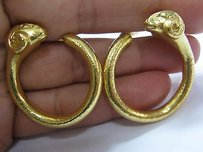 Other Zolotas 22kt Rams Head Circular Earrings Yellow Gold 1.5