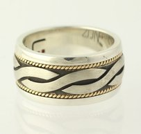Zone Twisted Pattern Mens Ring - 14k Yellow Gold Edge Sterling Silver Band