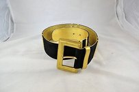 Paloma Picasso Paloma Picasso Black Suede Gold Metallic Tone Leather Belt
