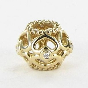 PANDORA Pandora 750466d Beadcharm Open Heart 0.025cts Diamonds 14k Yellow Gold
