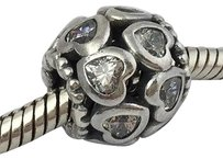 PANDORA Pandora 925 Silver Love All Around Hearts Clear Bead Charm 791250czs