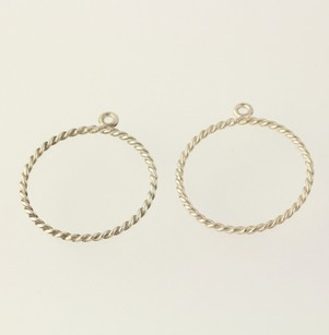 PANDORA Pandora Earring Charms - Sterling Silver 290639 Twisted Round Hoop Dangle
