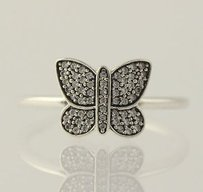 PANDORA Pandora Ring Sterling Silver 190938cz Sparkling Butterfly Clear Cz 5-5.25