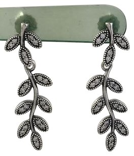 PANDORA Pandora Sparkling Leaves Dangle Earrings 925 Silver Cz 290565cz