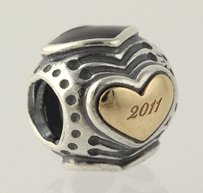 PANDORA Retired Pandora Black Friday 2011 Heart Charm - Sterling Silver 14k Gold