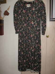 black Maxi Dress by Paquette Too! Vintage 90s Floral Soft