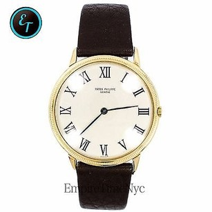 Patek Philippe Patek Philippe Calatrava 3758 18k Gold Beige Dial Leather Band Automatic Mens