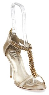 Pelle Moda Leather Rhinestone Gold Pumps