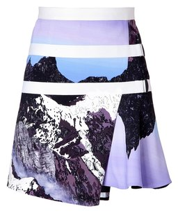 Peter Pilotto Purple Mountain Print Mini Skirt Blue