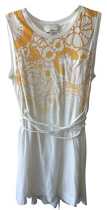 Philip Stein short dress white and yellow Pocket T-shirt Cotton on Tradesy