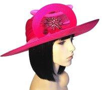 Philip Treacy PHILIP TREACY Fuchsia Sisal Fedora [ HeavenlyHats