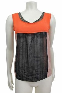 Philosophy di Alberta Ferretti Orange Black Embellished Sleeveless Top Multi-Color