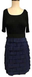 Phoebe Couture Black Blue Scoop Neck 34 Sleeve Tiered Zip Sma12201 Dress
