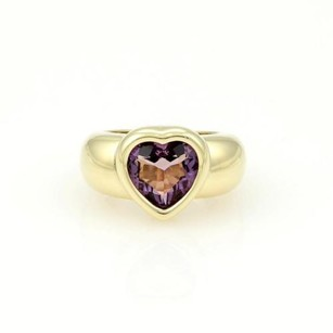 Piaget Piaget 18k Yellow Gold 3.50ct Heart Shape Amethyst Gemstone Solitaire Ring