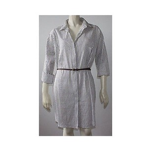 Piazza Sempione short dress White and Blue Pinstripe Linen Blend Shirt Hs1722 on Tradesy