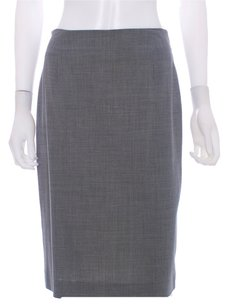 Piazza Sempione Wool Spandex Rayon Pencil Stretchy Italian Lined Skirt Gray