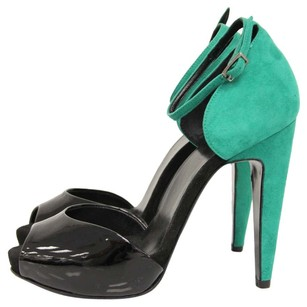 Pierre Hardy Patent Leather Peep Toe Ankle Strap Colorblock Black, Green Pumps