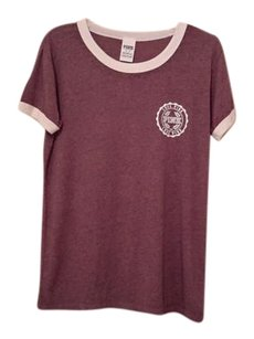 PINK T Shirt Burgundy Heather and Cream