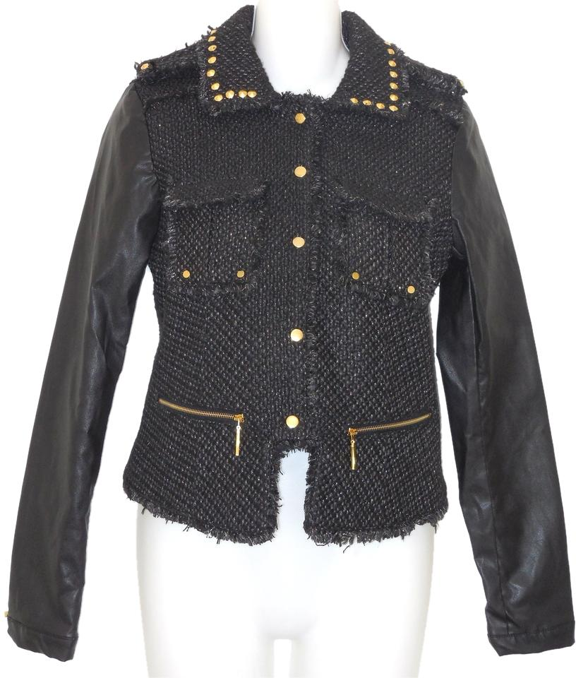 Pink Envelope Faux Leather Studded Motorcycle Jacket