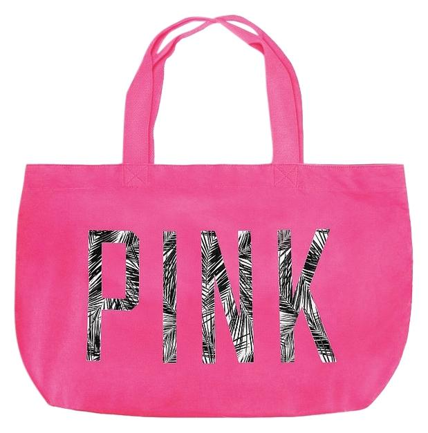 PINK Victoria's Secret Palm Tree Tropical Beach Pink Tote Bag ...