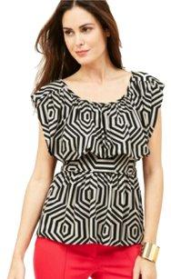 Plenty by Tracy Reese Geometric Belted Print Scoop Neck Top