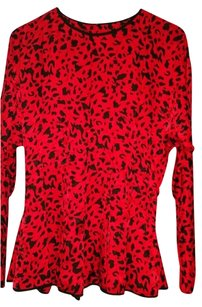 Point of view Collection 100% Silk Vintage Top red animal print