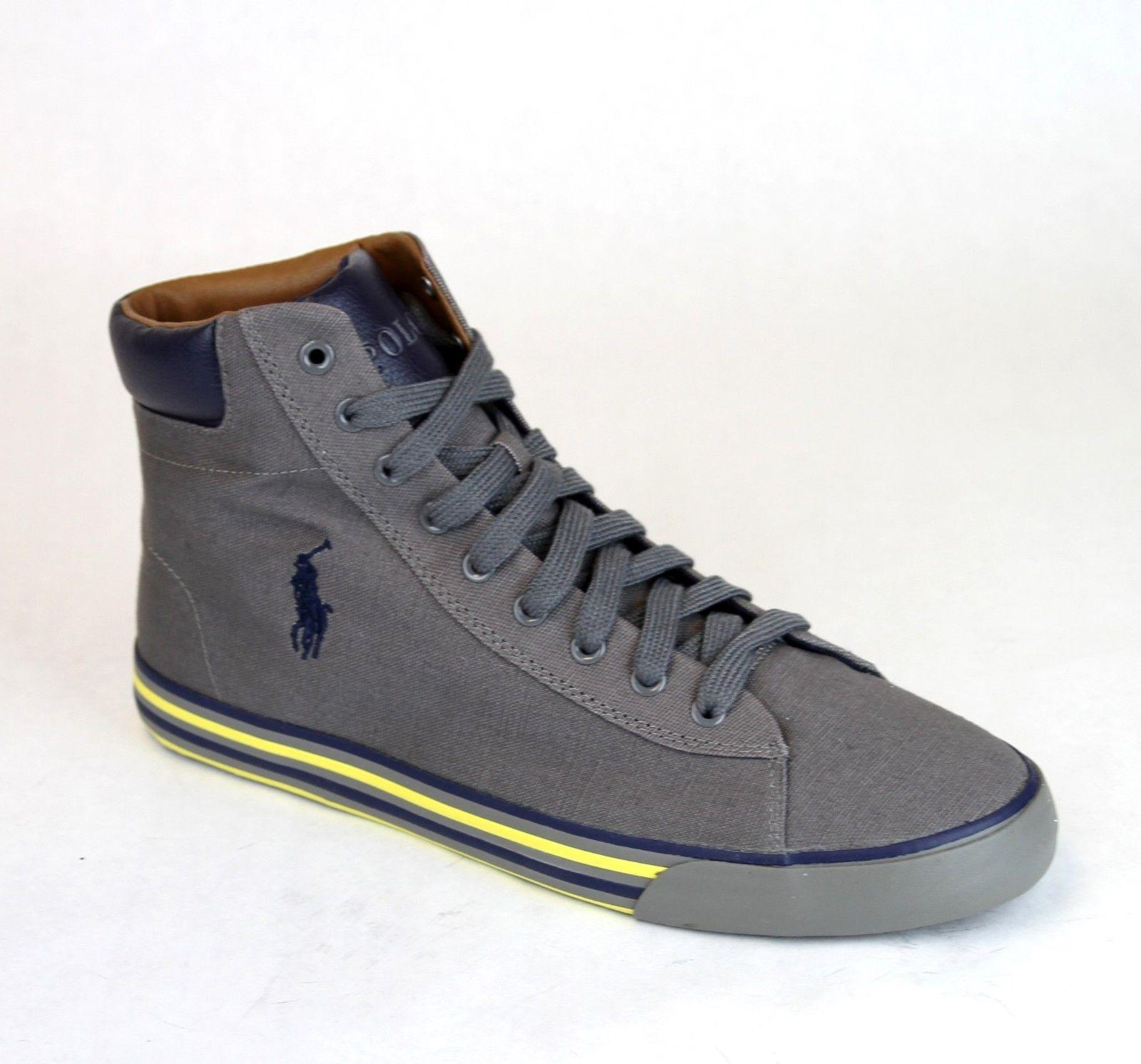Polo Ralph Lauren Charcoal Harvey Canvas High Top Sneaker Us 11 Shoes ...