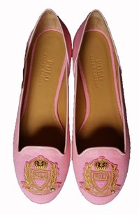 Polo Ralph Lauren Cotton Embroidery Loafers pink Flats