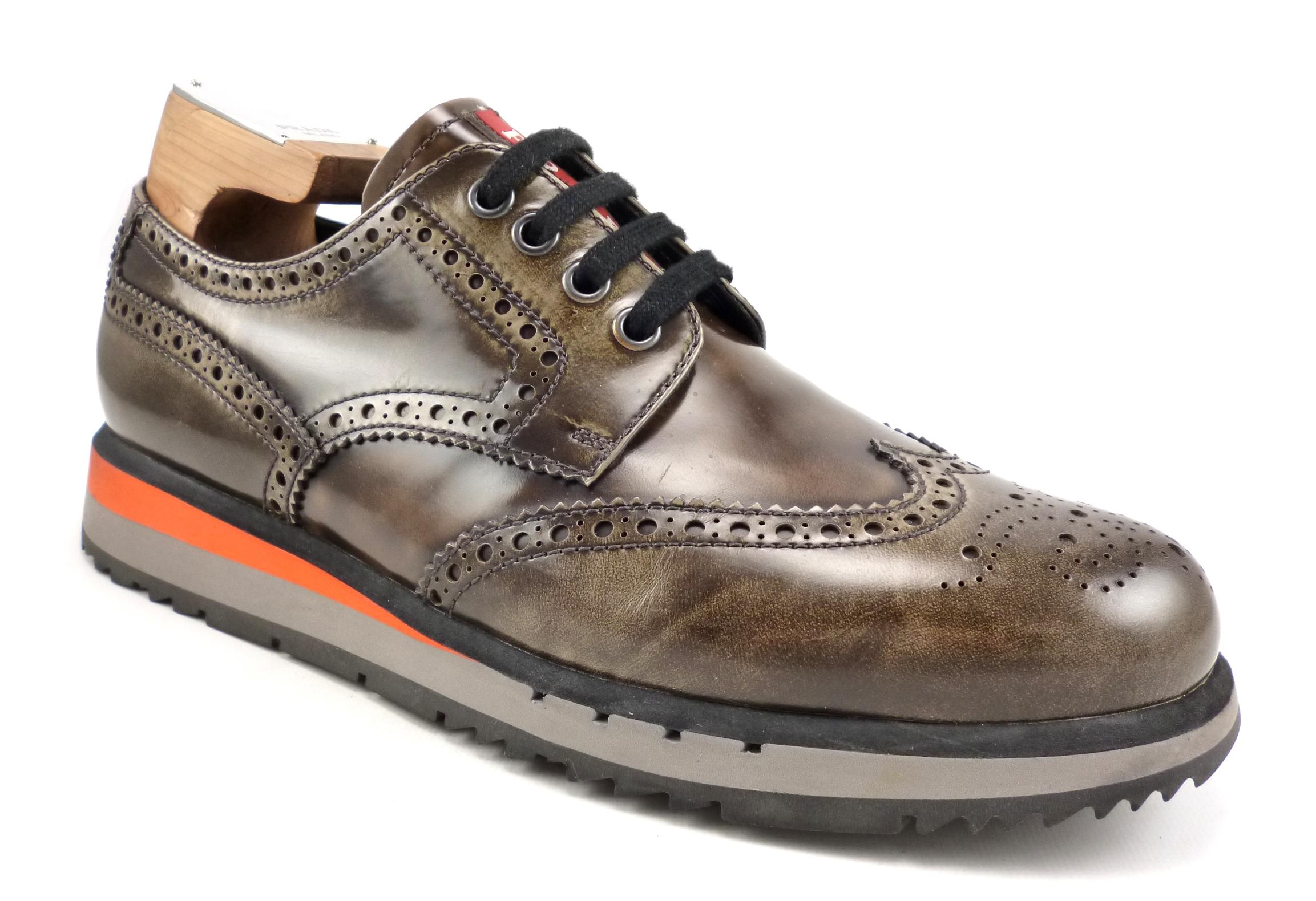 a8d87389c00e ... where can i buy prada brown double mens patent leather wingtip sole  sneakers shoes 43364 1db27