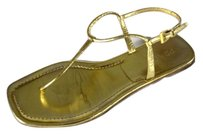 Prada 40 Ankle Gold Leather Nm Sandals
