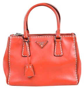 Prada Leather Topstitched Tote in Red