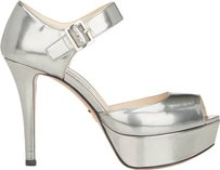 Prada Leather Open Toe Sandals Metallic Silver Platforms