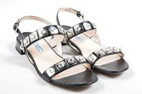 Prada Saffiano Leather Black Sandals
