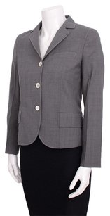 Prada Grey Wool Boxy Collared Gray Jacket