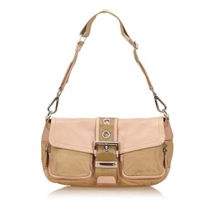 Prada Beige Brown Fabric Shoulder Bag