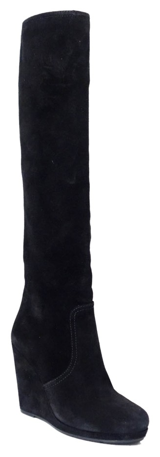 Prada Black 3wz019 Suede Leather Wedge Boots/Booties Size US 7