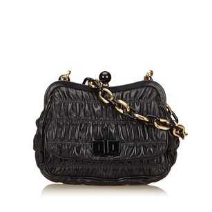 Prada Black Gold Leather Shoulder Bag