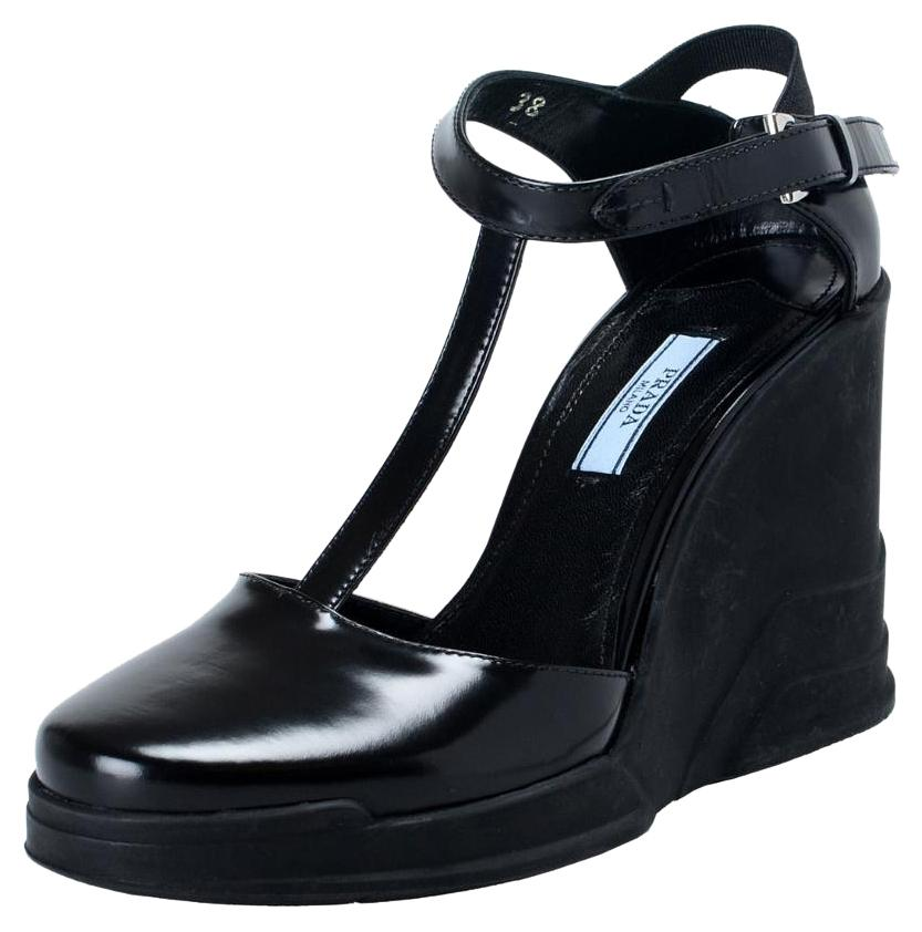 e26013d55 Man Woman-Prada Black Leather Ankle Ankle Ankle Wedges T-strap Sandals Size  US 7.5 Regular (M