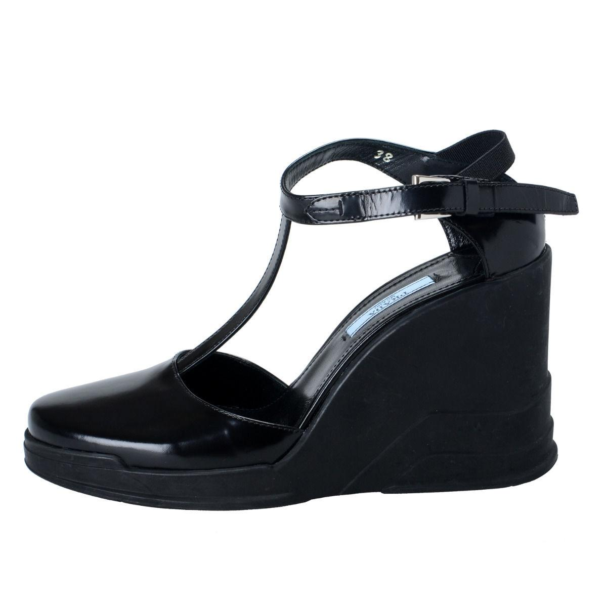 47cccafcd ... Man Woman-Prada Black Leather Ankle Ankle Ankle Wedges T-strap Sandals  Size ...