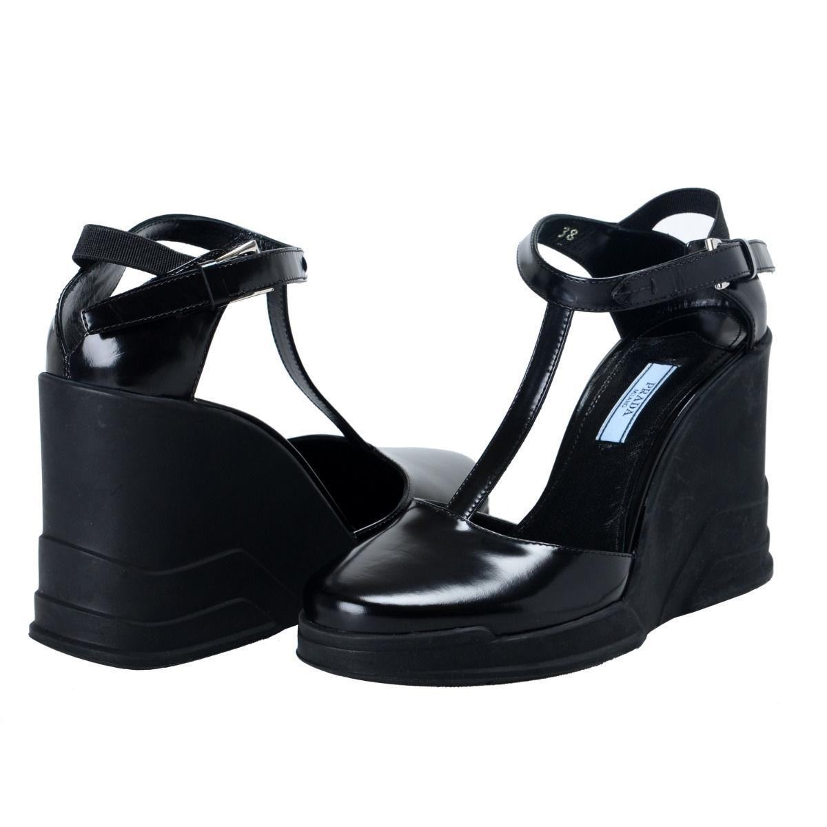 d1e008196 ... Man Woman-Prada Black Leather Ankle Ankle Ankle Wedges T-strap Sandals  Size
