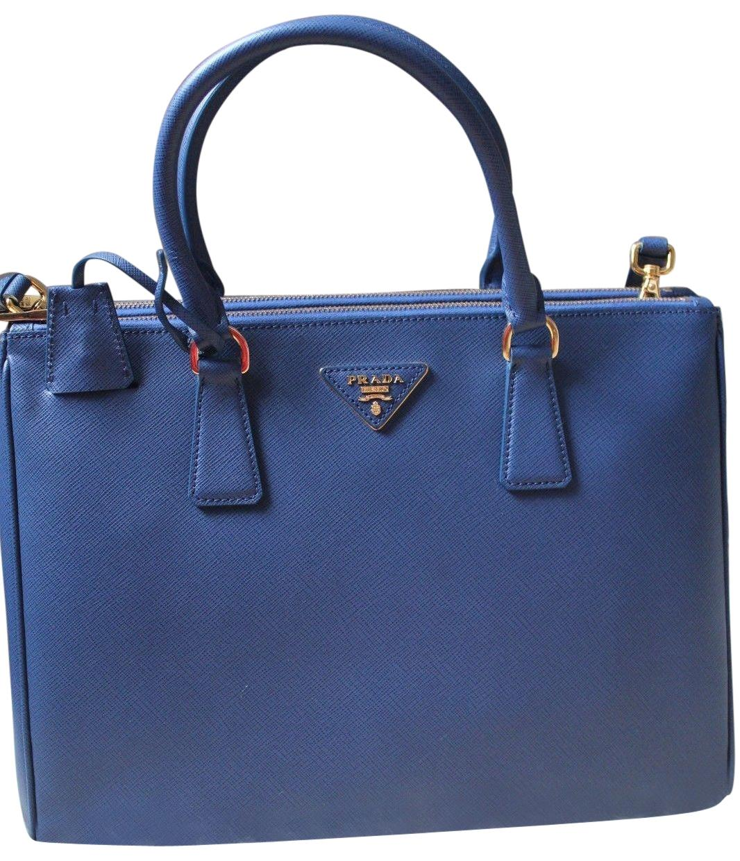 a11f16e0067d ... amazon prada black saffiano double zip leather galleria tote in cornflower  blue 49ce6 baea6