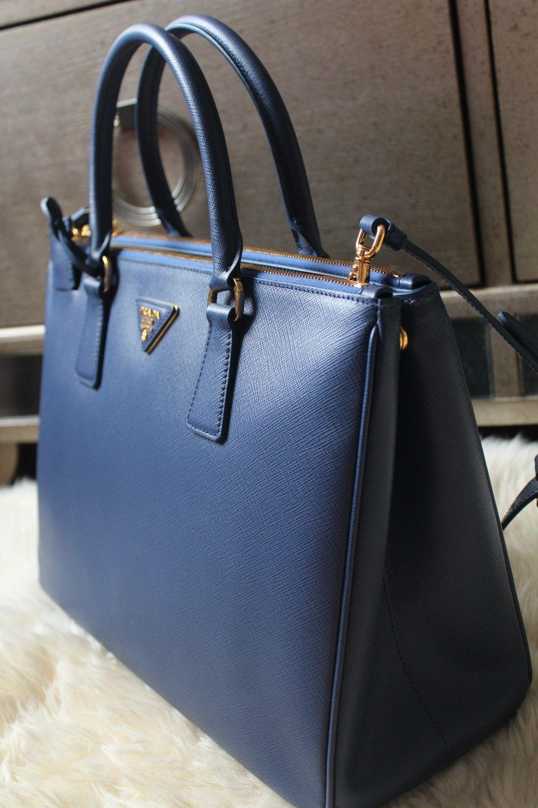 4dfe47a7b7a4 ... cheap prada black saffiano double zip leather galleria tote in cornflower  blue.