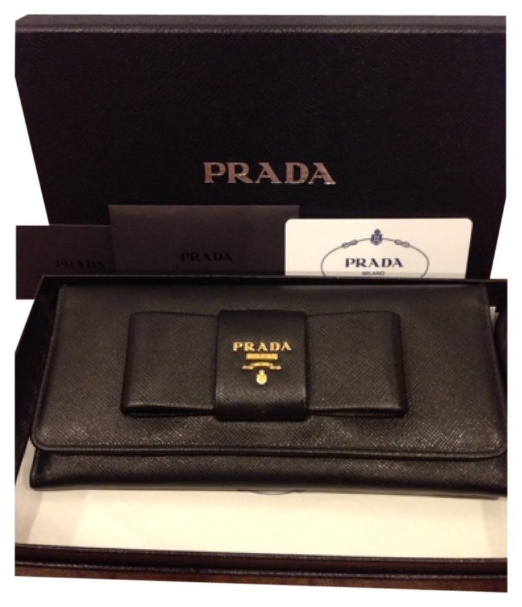 036de454942b ... coupon code for prada black saffiano leather with bow wallet tradesy  55deb 0875f