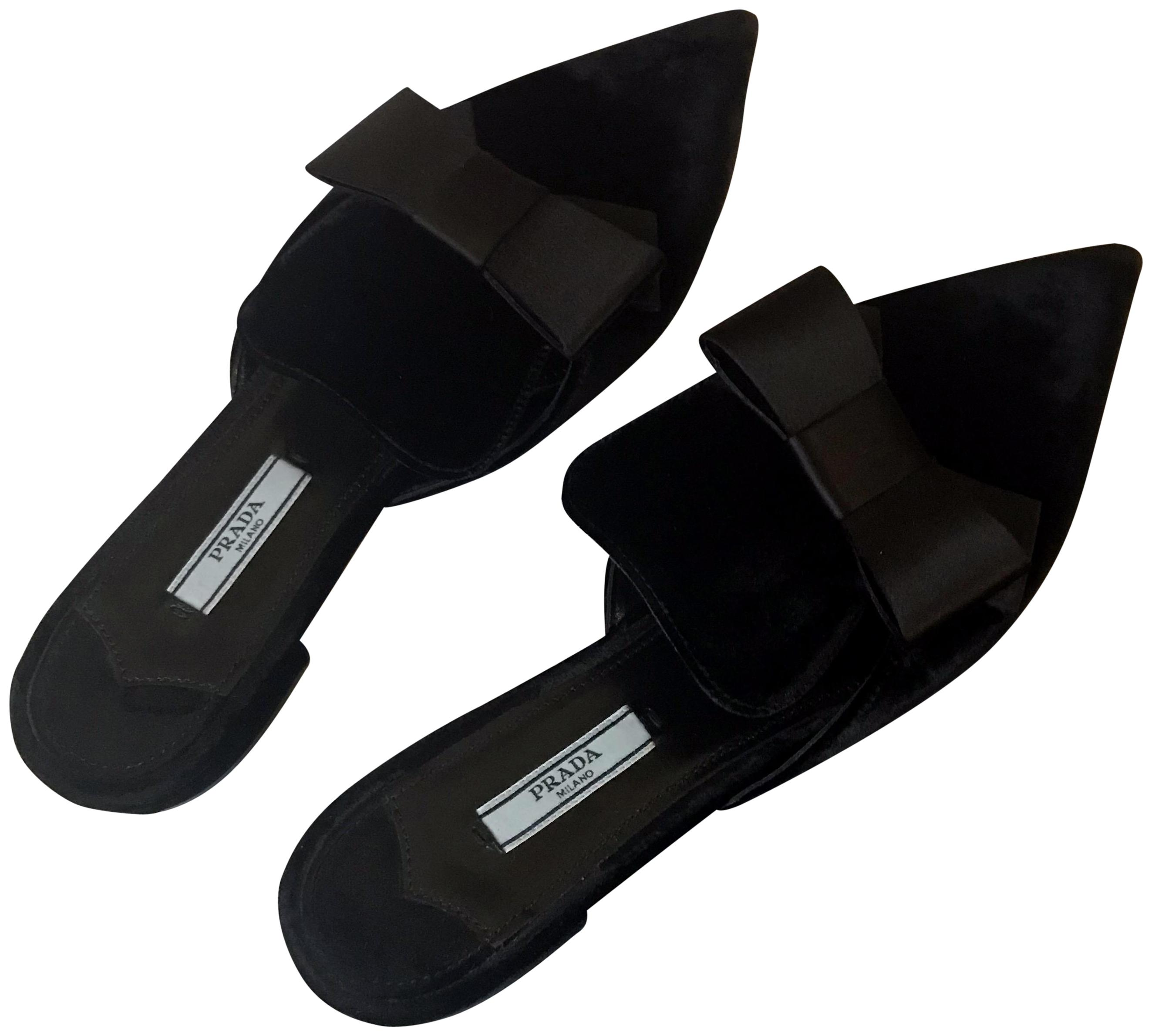 Prada Black Velvet Bow Pointed Mules/Slides Size EU 39 (Approx. US 9) Regular (M, B)