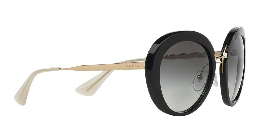2aea0c8d74 ... 15ss black 1ab0a7 womens sunglasses 3abf1 6dd8d new style prada black  with gold trim and gray gradient lens round 16qs 1ab0a7 free 3 ...