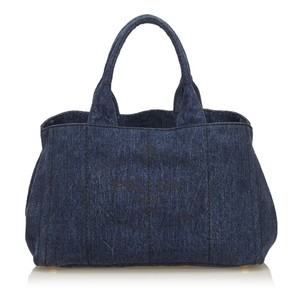 Prada Blue Denim Fabric Tote